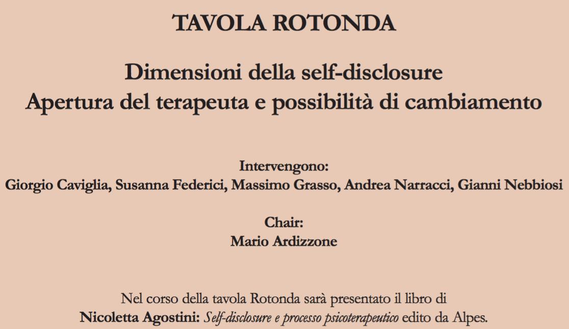 TAVOLA ROTONDA – Dimensioni della self-disclosure. Apertura del terapeuta e possibilità di cambiamento