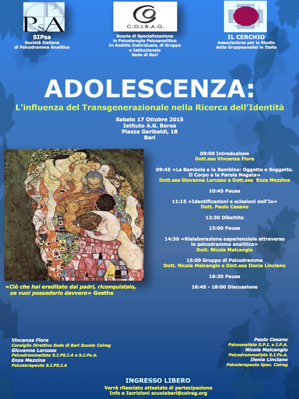 """EVENTO – """"Adolescenza: l'influenza del transgenerazionale nella Ricerca dell'Identità"""""""