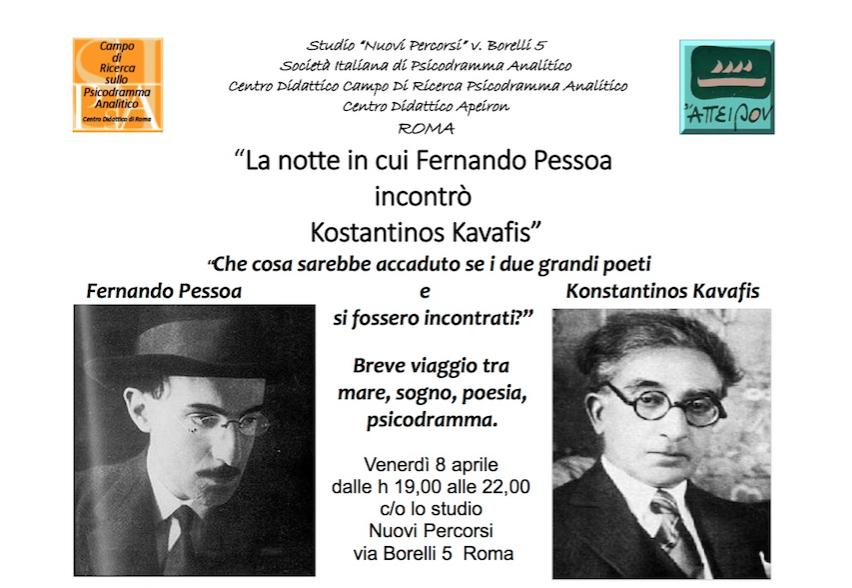"""INCONTRO – """"La notte in cui Fernando Pessoa incontrò Kostantinos Kavafis. Che cosa sarebbe accaduto se i due grandi poeti si fossero incontrati?"""""""