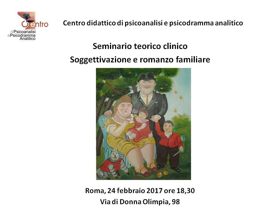 """SEMINARIO TEORICO-CLINICO – """"Soggettivazione e romanzo familiare"""""""