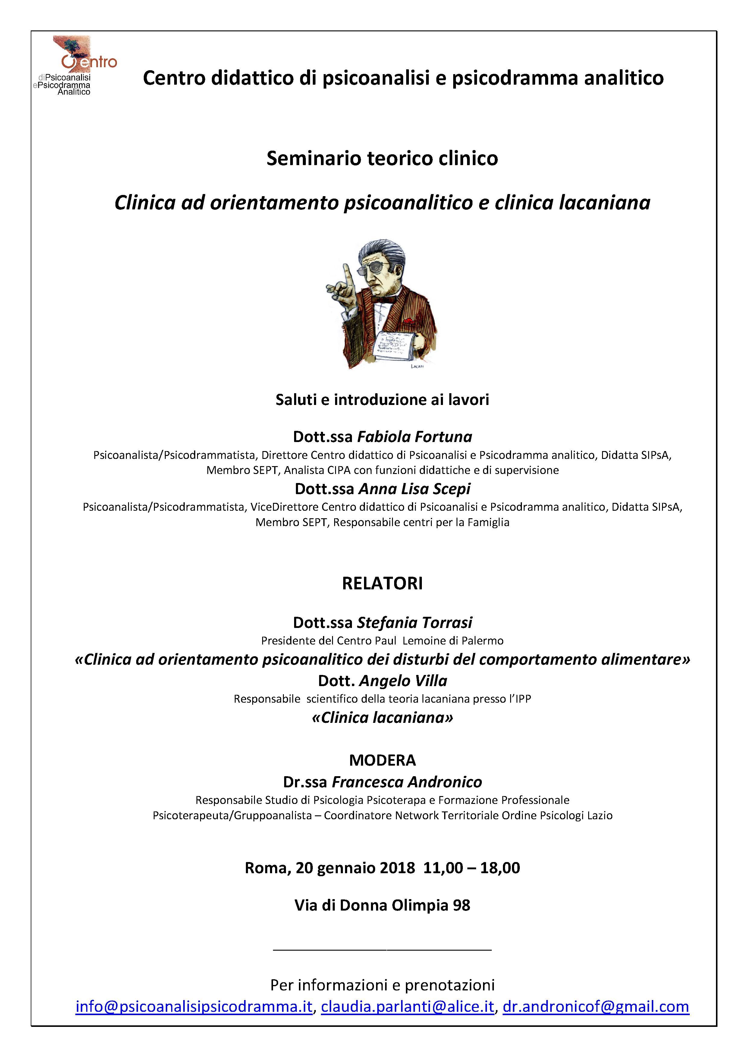 """SEMINARIO TEORICO-CLINICO – """"Clinica ad orientamento psicoanalitico e clinica lacaniana"""""""