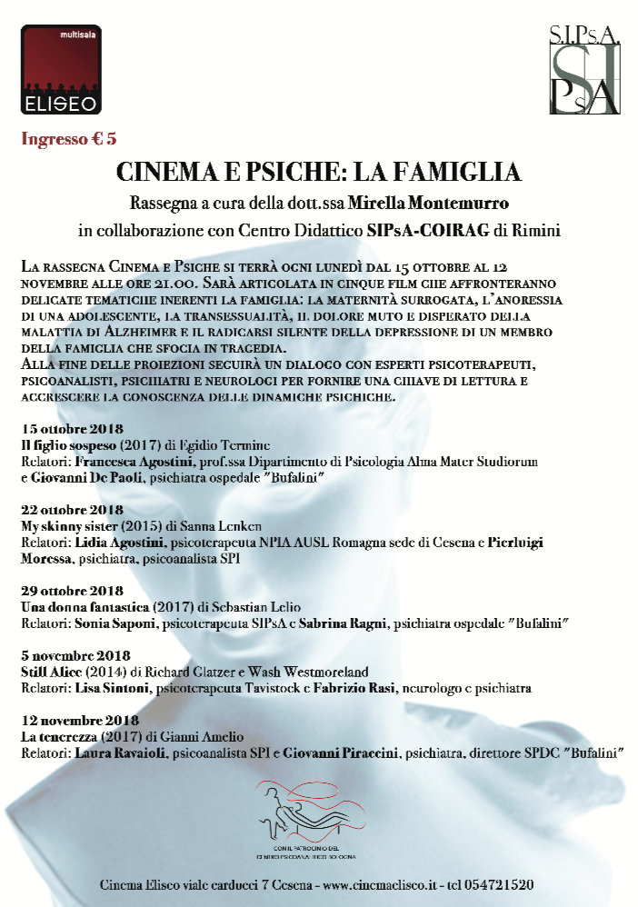 """RASSEGNA – """"Cinema e Psiche: la Famiglia"""""""