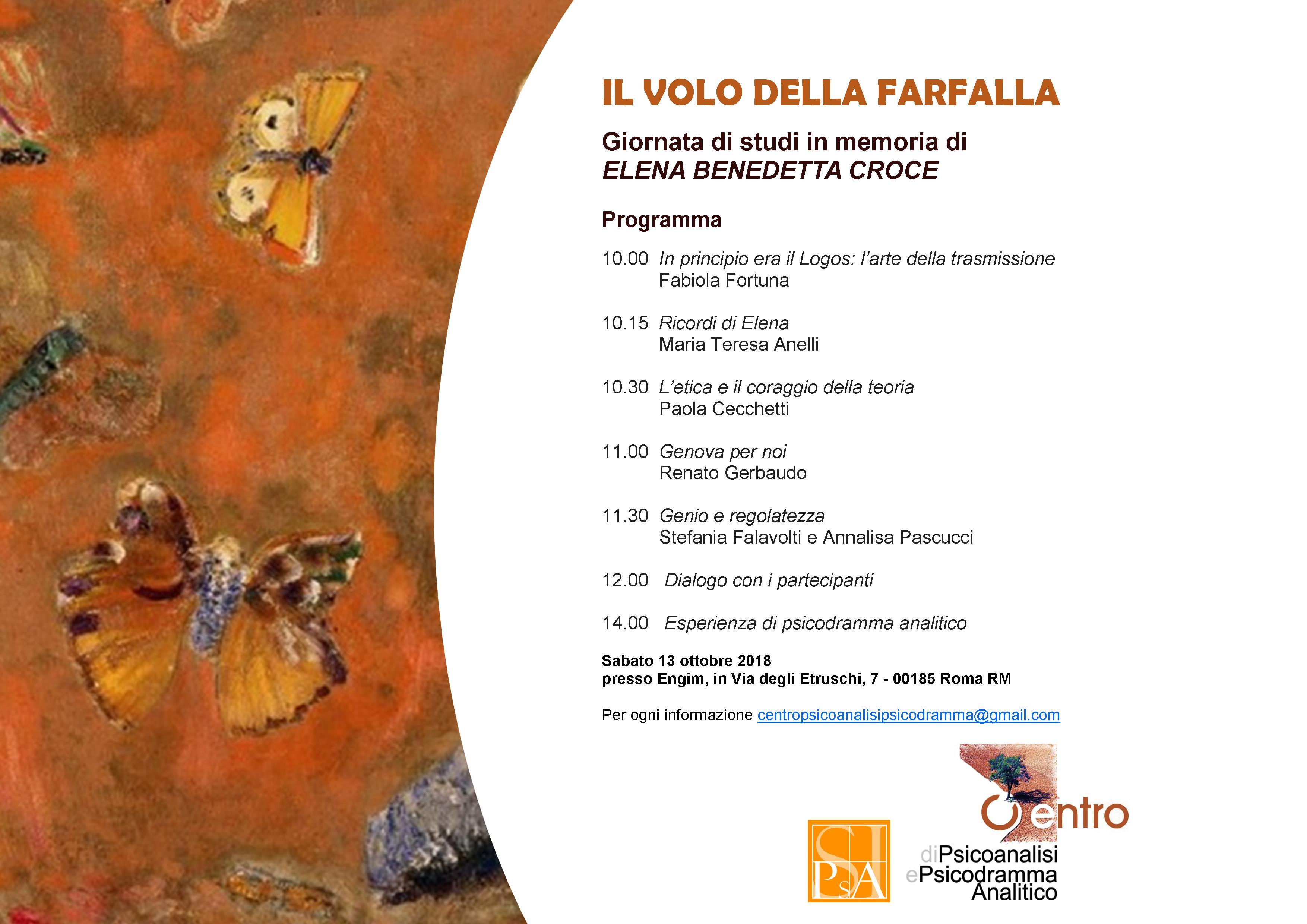 """EVENTO – """"Il volo della farfalla. Giornata di studi in memoria di Elena Benedetta Croce"""""""