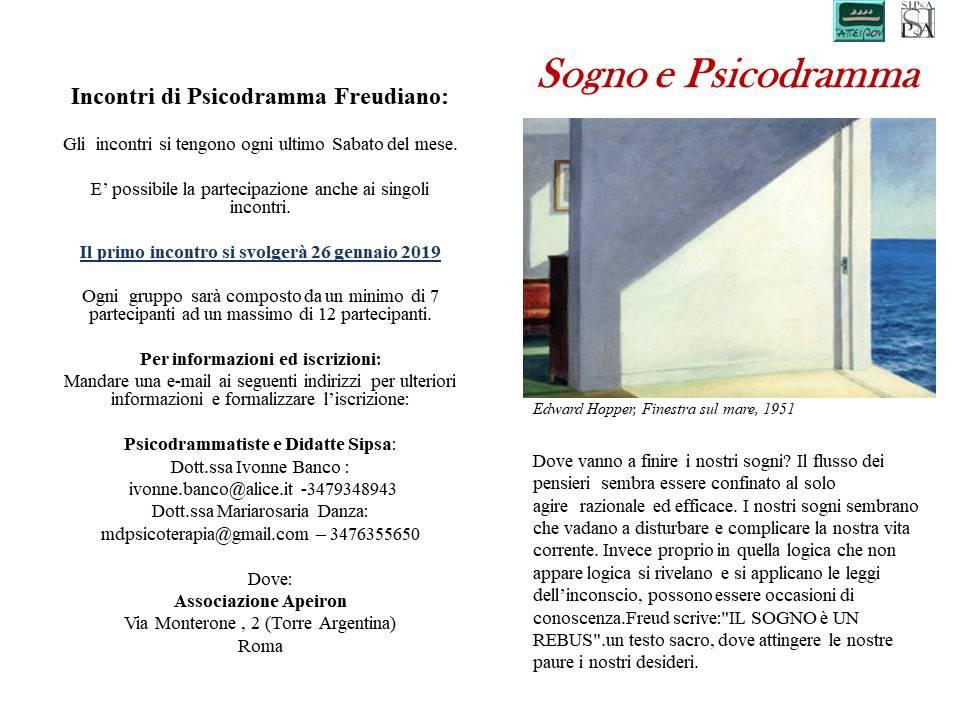 """CICLO DI INCONTRI – """"Sogno e Psicodramma"""""""