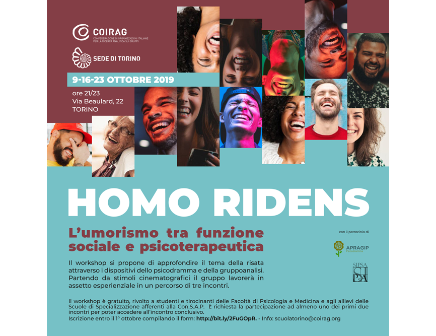"""WORKSHOP – """"Homo ridens. L'umorismo tra funzione sociale e psicoterapeutica"""""""