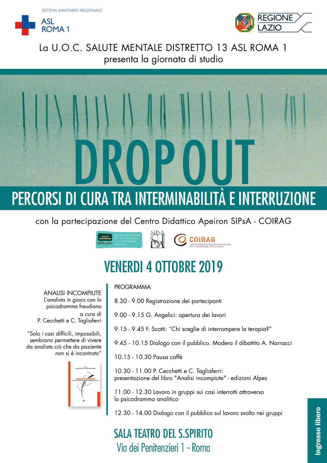 """GIORNATA DI STUDIO – """"Drop out. Percorsi di cura tra interminabilità e interruzione"""""""