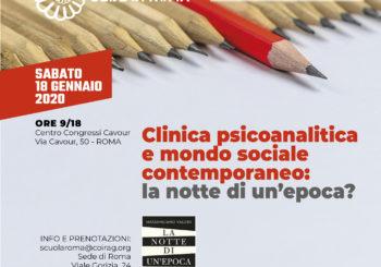 """GIORNATA DI APERTURA A.A. 2020 COIRAG ROMA – """"Clinica psicoanalitica e mondo sociale contemporaneo: la notte di un'epoca?"""""""