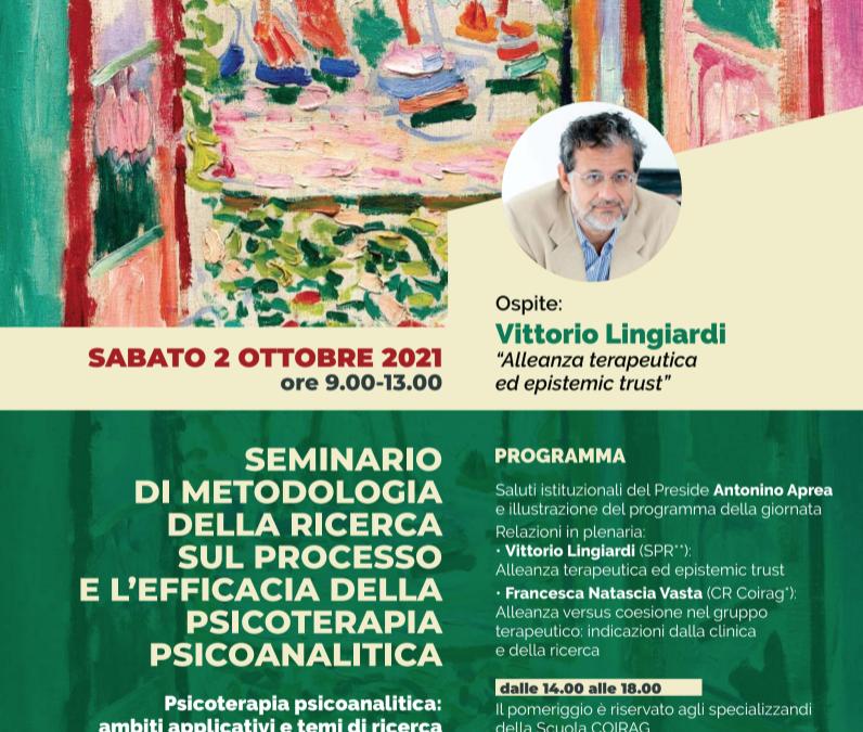 """EVENTO COIRAG – """"Seminario di metodologia della ricerca sul processo e l'efficacia della psicoterapia psicoanalitica"""""""